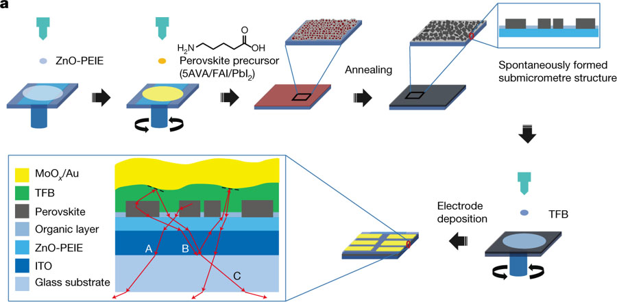PEROVSKITE LIGHT-EMITTING DIODES BASED ON SPONTANEOUSLY FORMED SUBMICROMETRE-SCALE STRUCTURES (NATURE 562, 249-253 (2018))